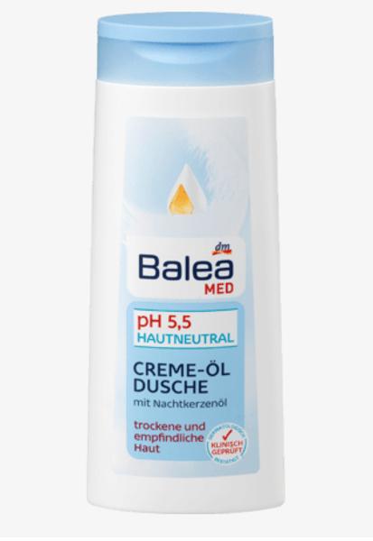 Balea Med eļļas dušas želeja, 300 ml, sausai un jūtīgai ādai, vegāns