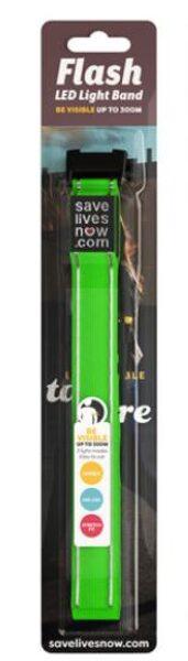 Flash zaļa atstarojošā LED gaismas aproce, iepakojumā 1.gab