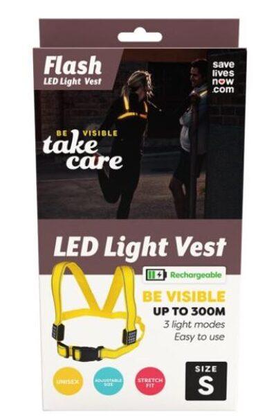 Flash uzlādējamā LED veste S izmērs