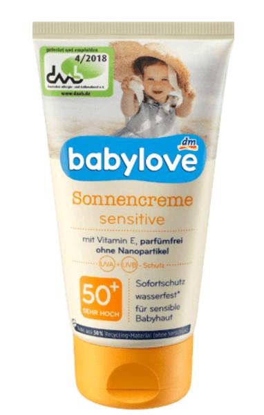 Babylove sauļošanās krēms Sensitiv, SPF 50+, 75 ml